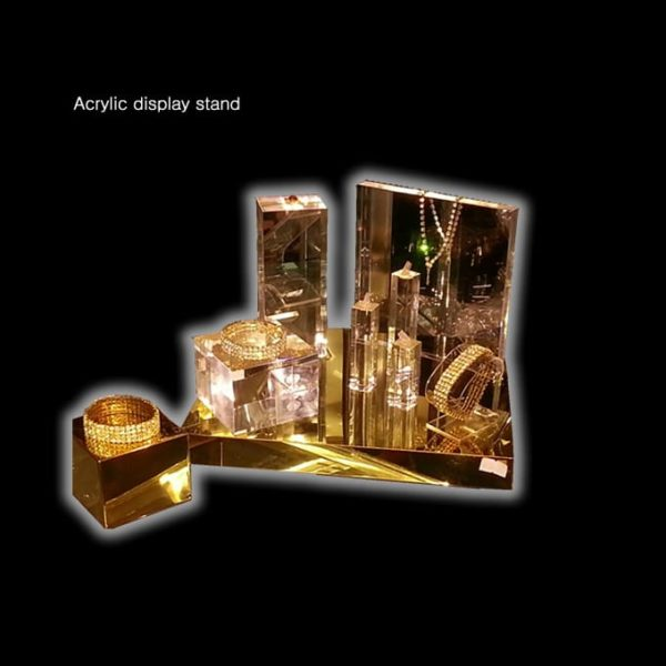 Gold Block Display Stand Mirror Surface