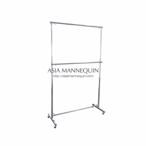 CR3-008HD-3FT Clothes Garment Racks, 3ft Wide,1.9m tall, 2 Tier, Heavy Duty, Extendable Height & Sides, Silver Chrome