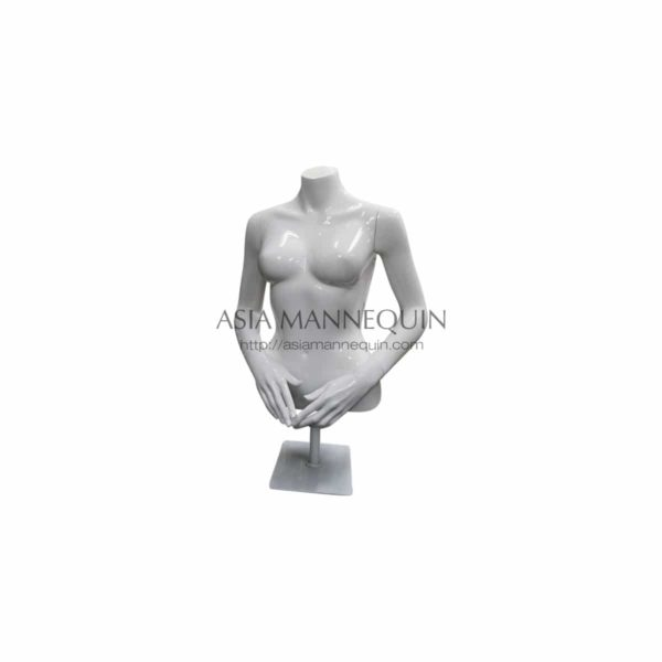 SK63 Female Mannequin (Glossy White) Half Body, Headless With Arm